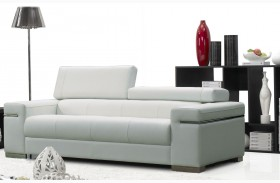 Soho White Leather Sofa
