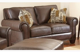 Escher Top Grain Leather Loveseat with 2 Accent Pillows