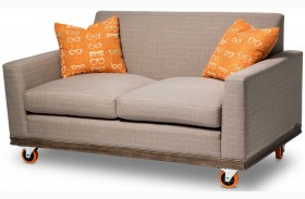 Studio Detroit Tangerine Wheels Loveseat