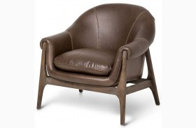 Studio Indio Brown Wood Trim Leather Chair