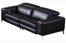 Peninsula Black Leather Strada Sofa