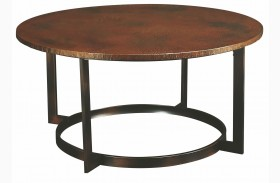 Nueva Aged Copper Round Cocktail Table