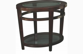 Urbana Dark Merlot Oval End Table