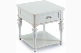 Curran Weathered White Wood Rectangular End Table