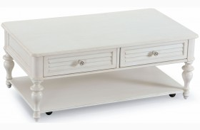 Curran Weathered White Wood Rectangular Casters Cocktail Table