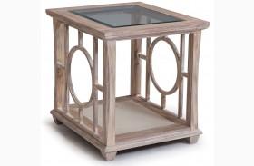 Lana White Wash Wood Rectangular End Table