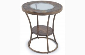 Desoto Warm Sienna Wood Oval End Table