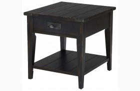 Sheffield Antique Black Rectangular End Table