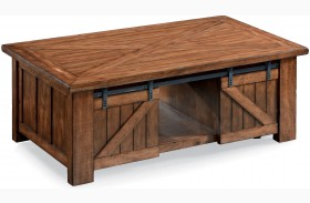 Harper Farm Warm Pine Rectangular Lift-Top Cocktail Table With Casters