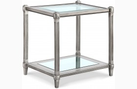 Platinum Metallic Silver Rectangular End Table