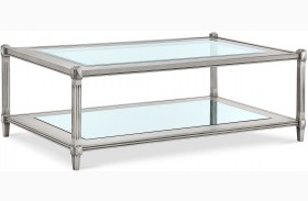 Platinum Metallic Silver Rectangular Cocktail Table