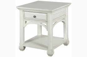 Hancock Park Vintage White Rectangular End Table