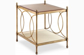 Trey Brushed Bronze Metal Rectangular End Table