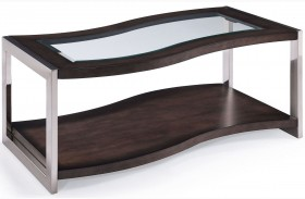 Lynx Graphite Wood Rectangular Casters Cocktail Table