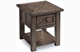 Garrett Weathered Charcoal Wood Rectangular End Table