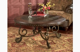 Chaling durablend antique living room set from ashley for Rafferty coffee table