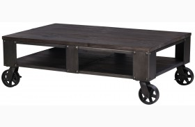 Milford Weathered Charcoal And Gunmetal Rectangular Cocktail Table