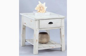 Willow Distressed White Rectangular End Table