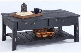 Willow Distressed Black Rectangular Cocktail Table