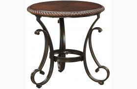 Gambrey Reddish Brown Round End Table