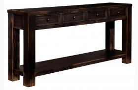 Gavelston Dry Vintage Weathered Black Sofa Table