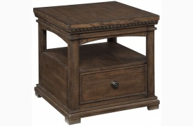Larrenton Grayish Brown Rectangular End Table