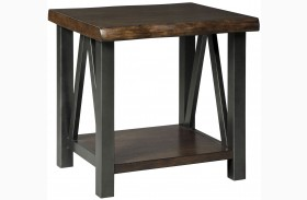 Esmarina Walnut Brown Square End Table