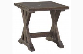 Valkner Grayish Brown Square End Table