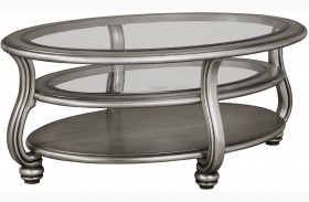 Coralayne Silver Oval Cocktail Table