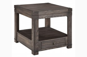 Burladen Grayish Brown Rectangular End Table