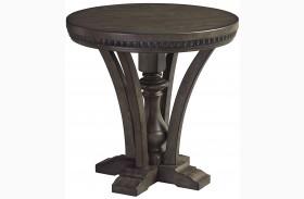 Larrenton Grayish Brown Round End Table