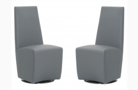 Ritz Tobi Graphite Synthetic Leather Swivel Dining Chair Set of 2