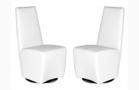 Ritz Tobi White Synthetic Leather Swivel Dining Chair Set of 2