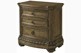 Touraine French Glazed Pecan 3 Drawer Nightstand