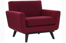 James Red Linen Chair