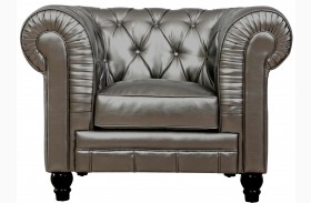 Zahara Silver Leather Club Chair