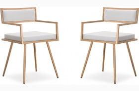 Marquee White Croc Arm Chair Set of 2