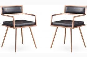 Marquee Black Croc Arm Chair Set of 2