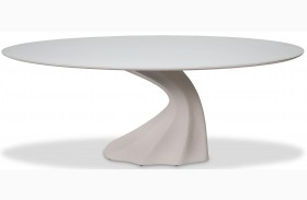 Trance Cosmo White Oval Dining Table