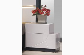 Turin Light Grey and Black Lacquer RAF Nightstand