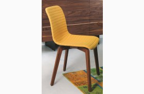 Vela Yellow Leather Dining Chair