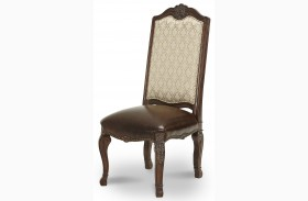 Victoria Palace Fabric Back Side Chair with Leather Seat