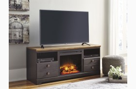 Maxington Two-tone LG TV Stand with Glass and Stone Fireplace Insert