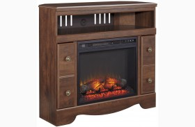 Brittberg Reddish Brown Corner TV Stand with Glass and Stone Fireplace Insert