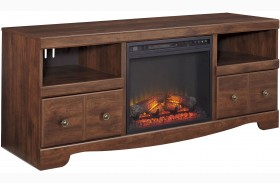 Brittberg Reddish Brown LG TV Stand with Glass and Stone Fireplace Insert