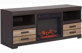 Harlinton LG TV Stand With Glass/Stone Fireplace Insert
