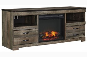 Trinell Brown LG TV Stand With Glass/Stone Fireplace Insert