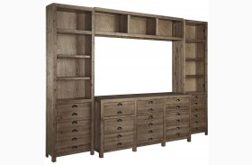 Keeblen Grayish Brown Entertainment Wall Unit