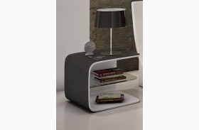 Wave Black & White Nightstand