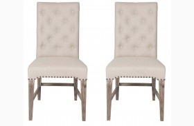 Wilshire Gray Wash Stone Linen Dining Chair Set of 2